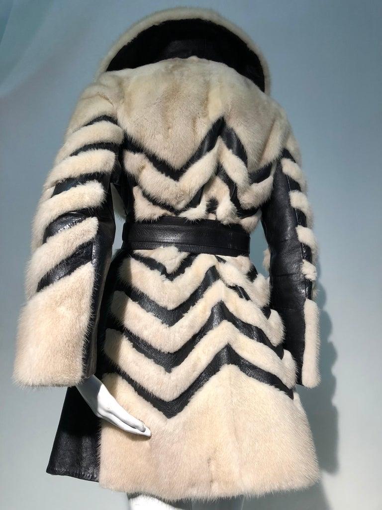 1960er Jahren honey Blonde Nerz & Leder Chevron genäht Mantel W / Leder Korsett Gürtel 3