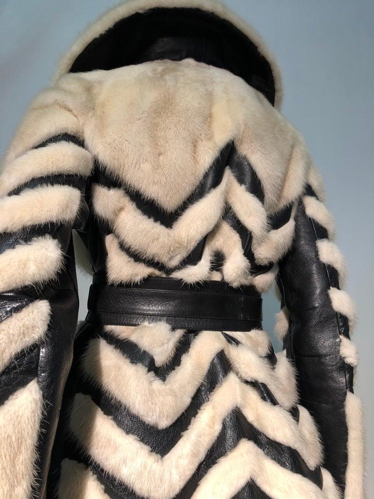 1960er Jahren honey Blonde Nerz & Leder Chevron genäht Mantel W / Leder Korsett Gürtel 4