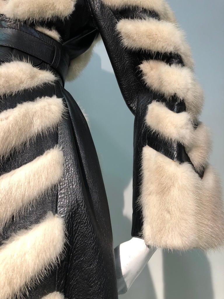 1960er Jahren honey Blonde Nerz & Leder Chevron genäht Mantel W / Leder Korsett Gürtel 5