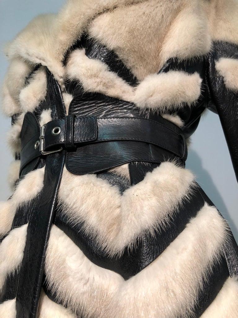 1960er Jahren honey Blonde Nerz & Leder Chevron genäht Mantel W / Leder Korsett Gürtel 6