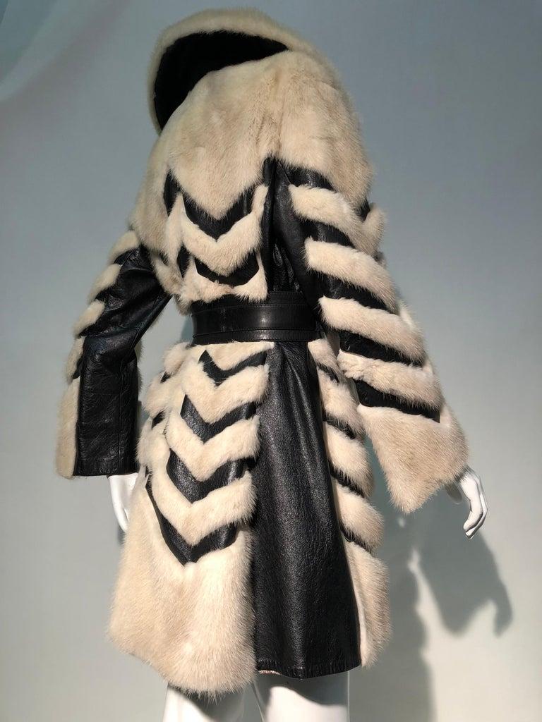 1960er Jahren honey Blonde Nerz & Leder Chevron genäht Mantel W / Leder Korsett Gürtel 8