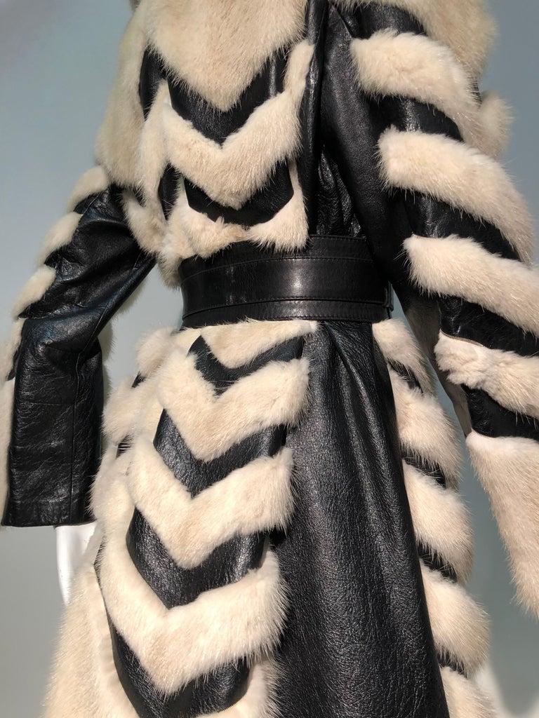 1960er Jahren honey Blonde Nerz & Leder Chevron genäht Mantel W / Leder Korsett Gürtel 9