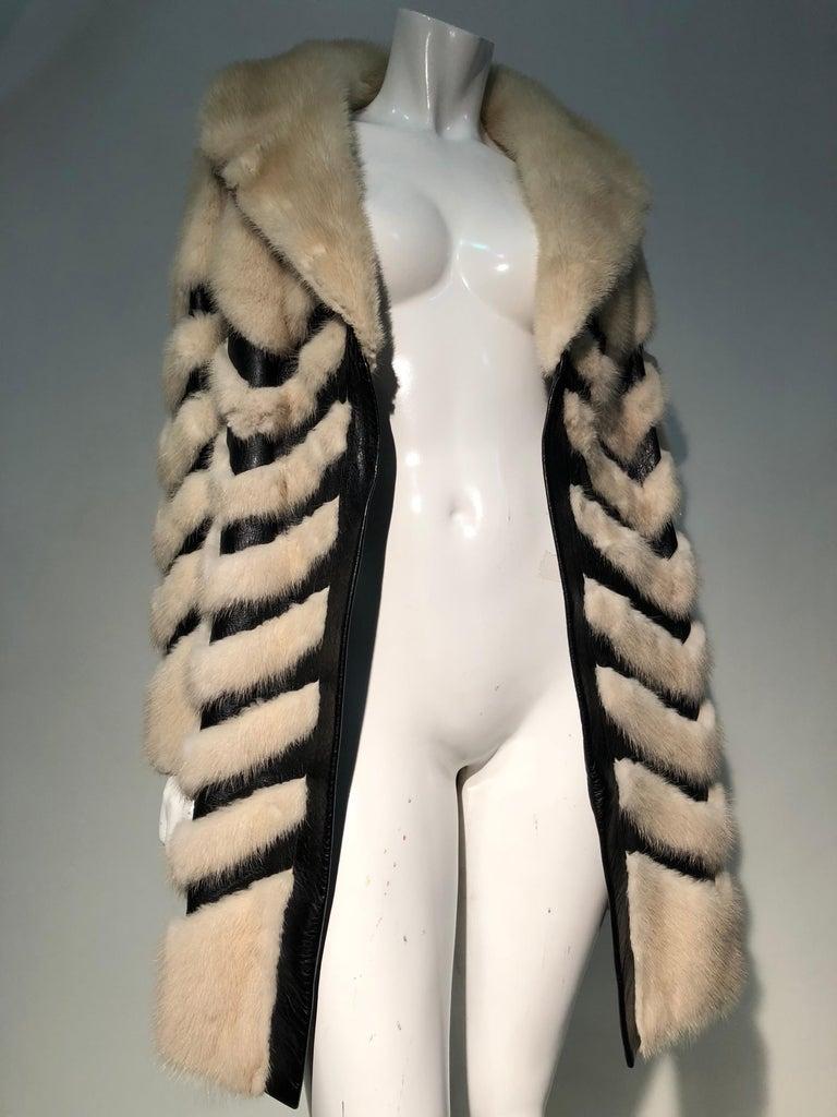 1960er Jahren honey Blonde Nerz & Leder Chevron genäht Mantel W / Leder Korsett Gürtel 10