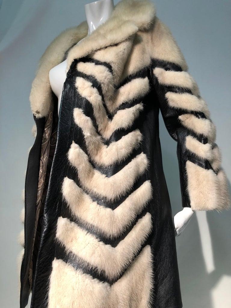 1960er Jahren honey Blonde Nerz & Leder Chevron genäht Mantel W / Leder Korsett Gürtel 11