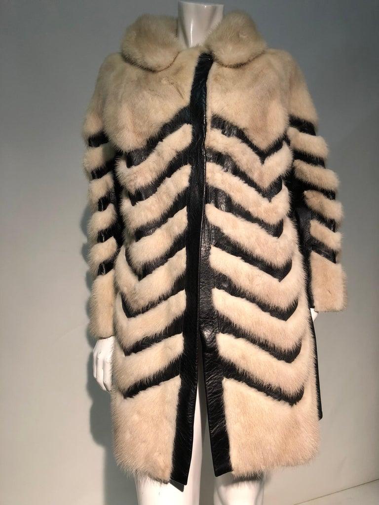 1960er Jahren honey Blonde Nerz & Leder Chevron genäht Mantel W / Leder Korsett Gürtel 12