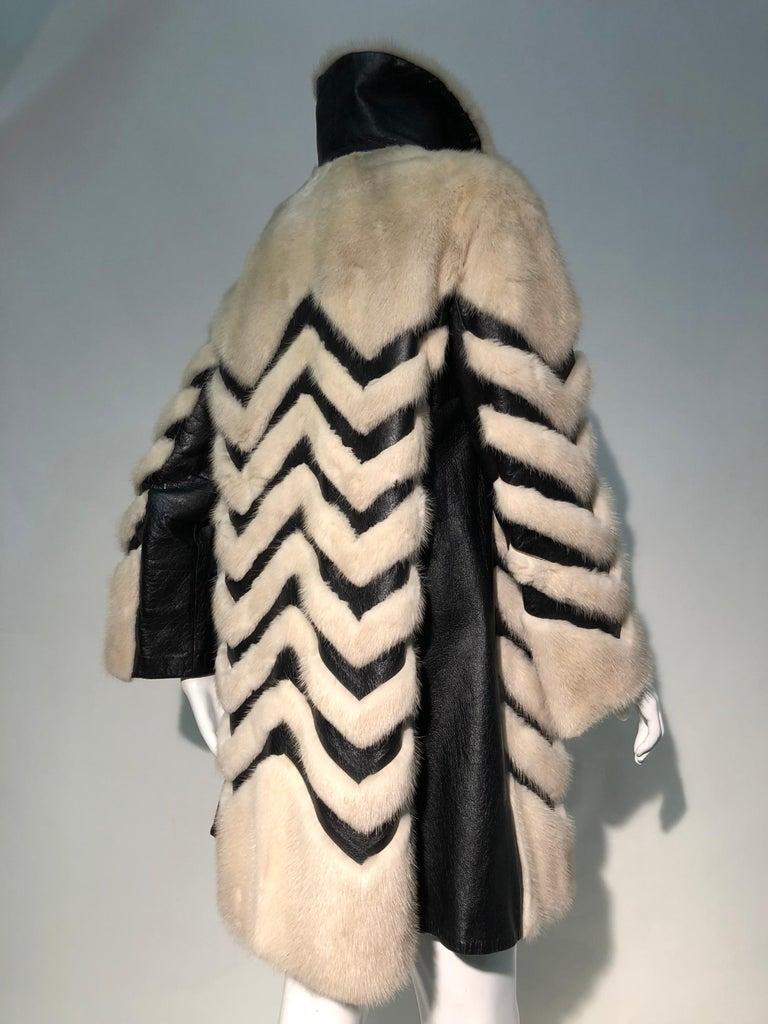 1960er Jahren honey Blonde Nerz & Leder Chevron genäht Mantel W / Leder Korsett Gürtel 16