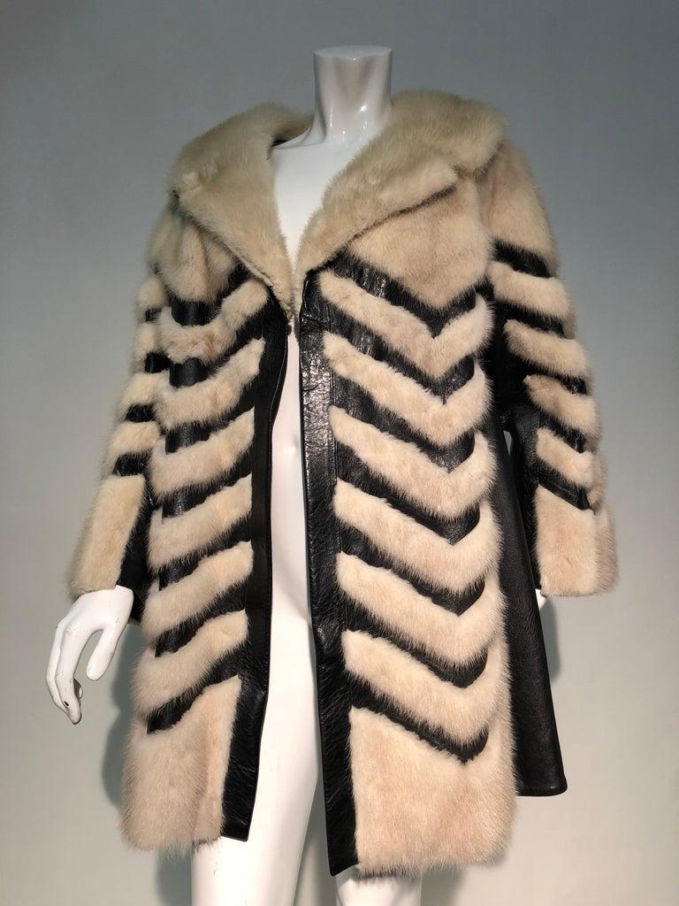1960er Jahren honey Blonde Nerz & Leder Chevron genäht Mantel W / Leder Korsett Gürtel 17
