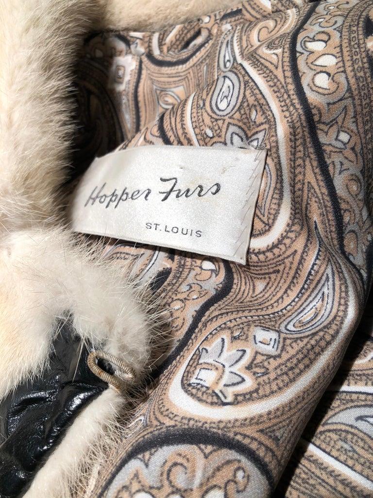 1960er Jahren honey Blonde Nerz & Leder Chevron genäht Mantel W / Leder Korsett Gürtel 20
