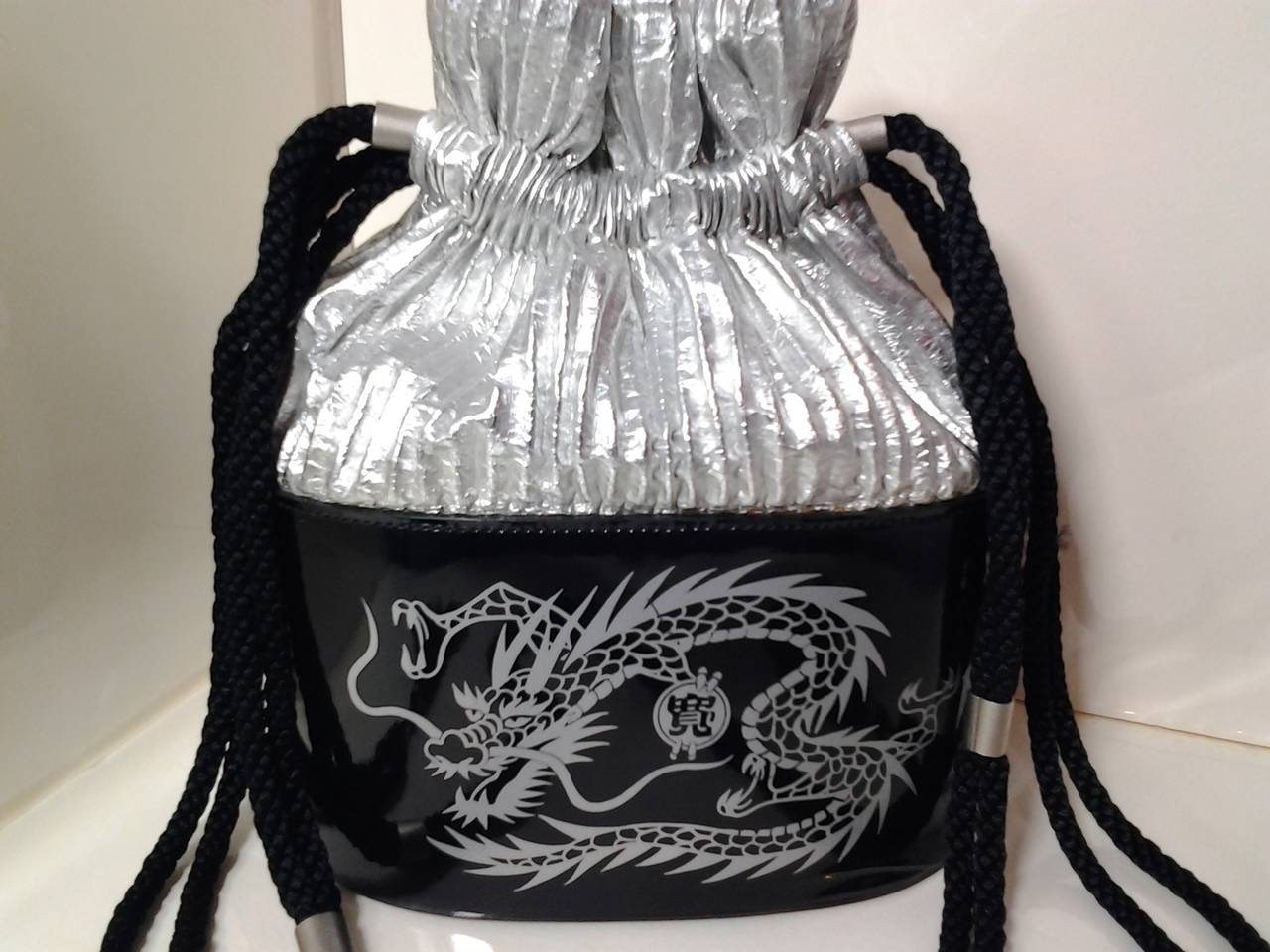 Black 1980s Kansai Yamamoto Patent Leather and Silver Lame Dragon Draw String Bag For Sale