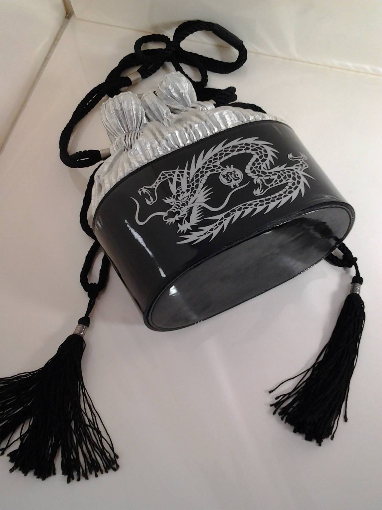 1980s Kansai Yamamoto Patent Leather and Silver Lame Dragon Draw String Bag In Excellent Condition For Sale In San Francisco, CA