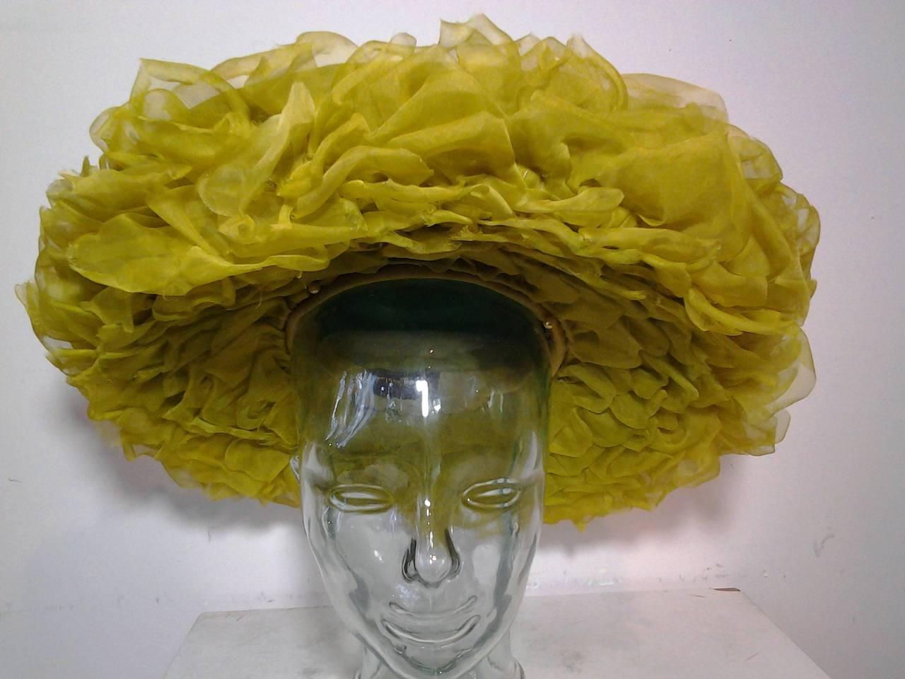 Women's 1940s Irina Roublon Huge Lime Green Organza Petal Brimmed Hat For Sale