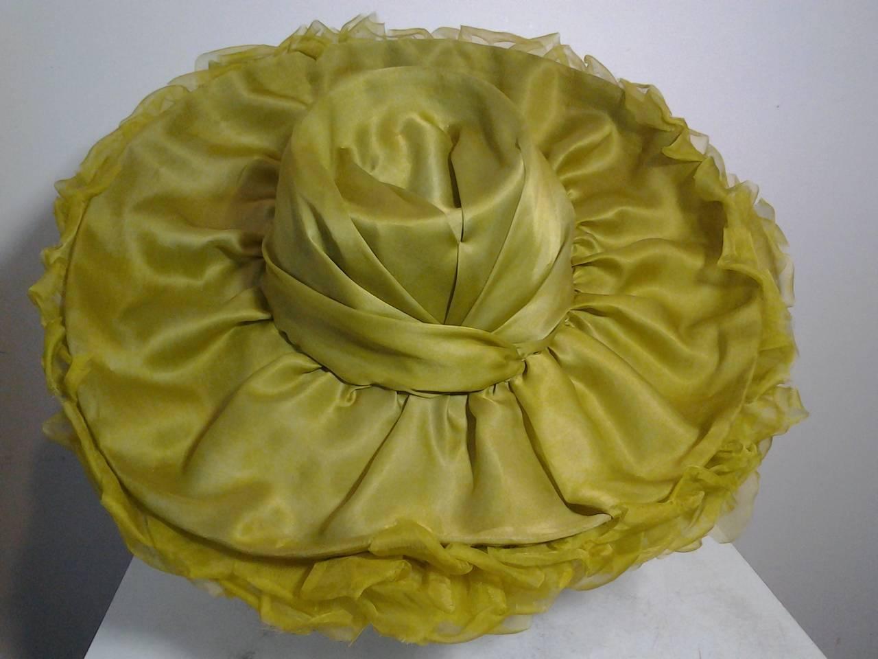 Brown 1940s Irina Roublon Huge Lime Green Organza Petal Brimmed Hat For Sale