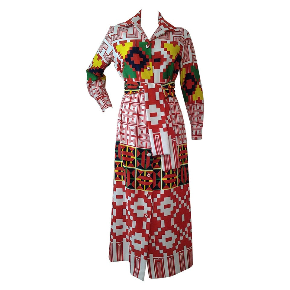 1970s Lanvin Button-Down Navaho Patterned Maxi Dress