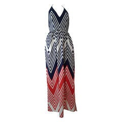 1960s Fabulous Red White and Blue Cotton Pique Halter Maxi Dress
