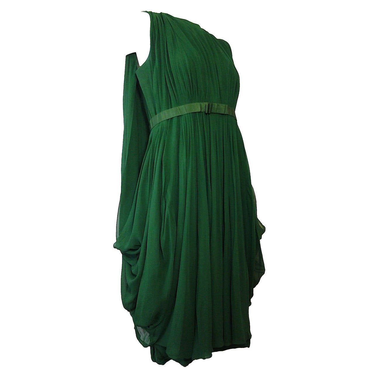 Saks Wedding Gowns: 1960s Saks Fifth Avenue Emerald Silk Chiffon Cocktail