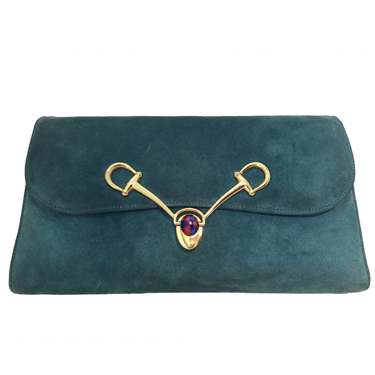 1970s Gucci Turquoise Suede Clutch / Shoulder Bag with Enameled Closure 1