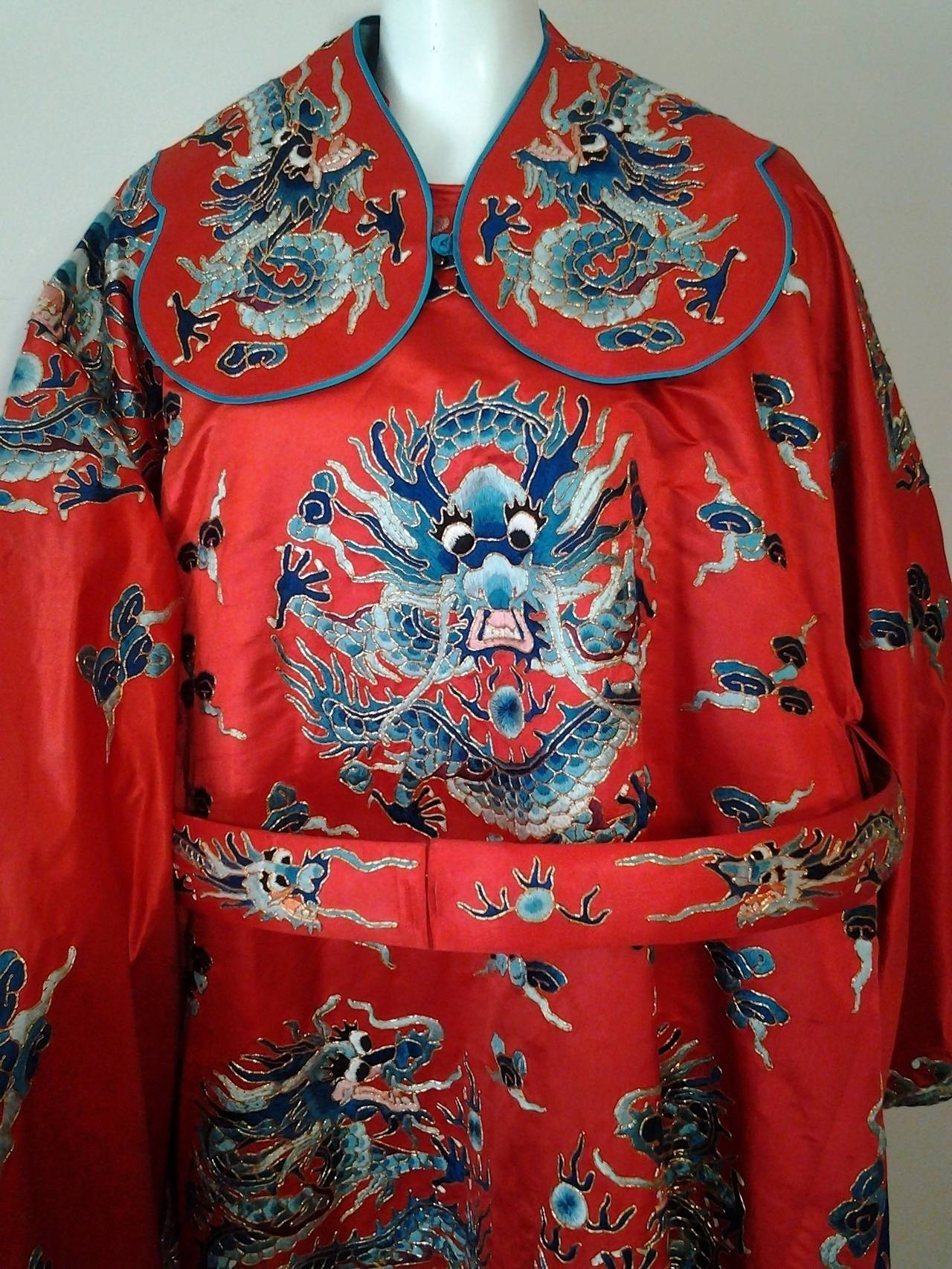 1940s Chinese Red Dragon Robe 3 Pieces 4
