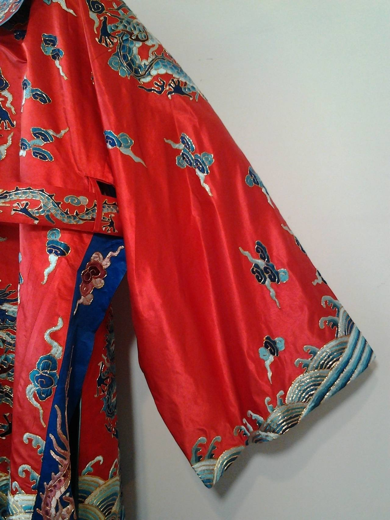 1940s Chinese Red Dragon Robe 3 Pieces 5