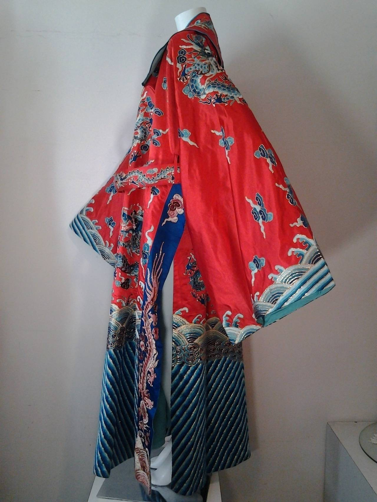 1940s Chinese Red Dragon Robe 3 Pieces 7