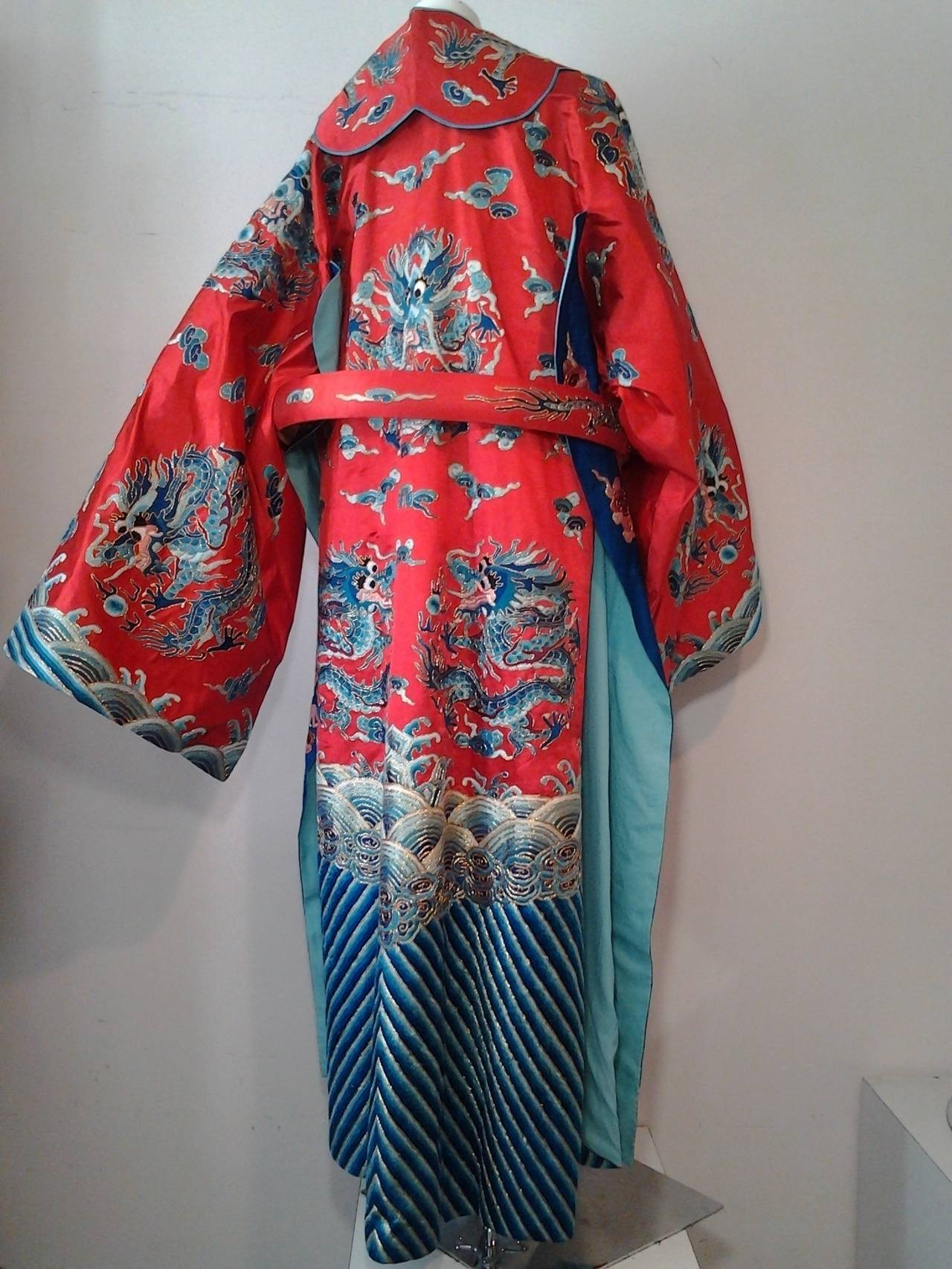 1940s Chinese Red Dragon Robe 3 Pieces 3