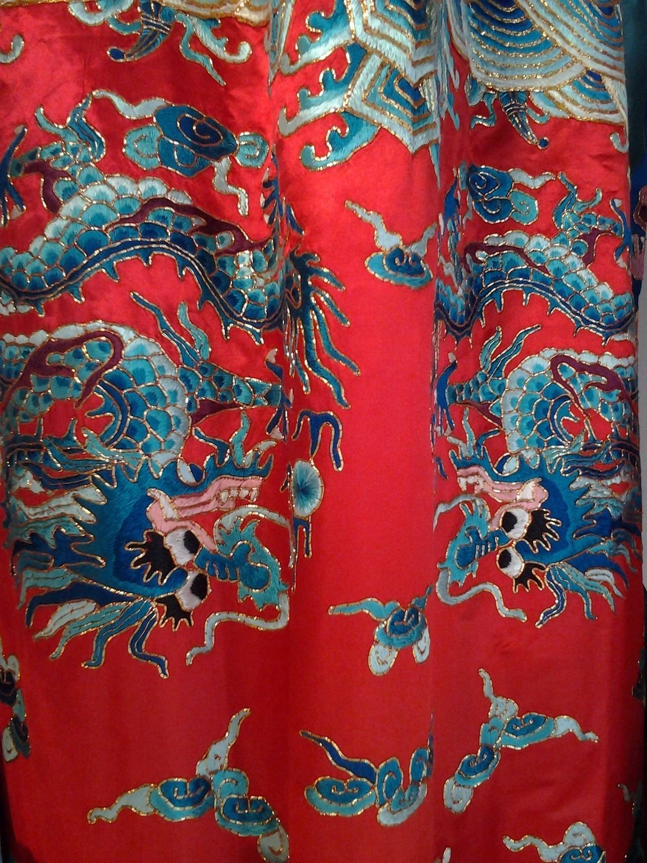 1940s Chinese Red Dragon Robe 3 Pieces 6