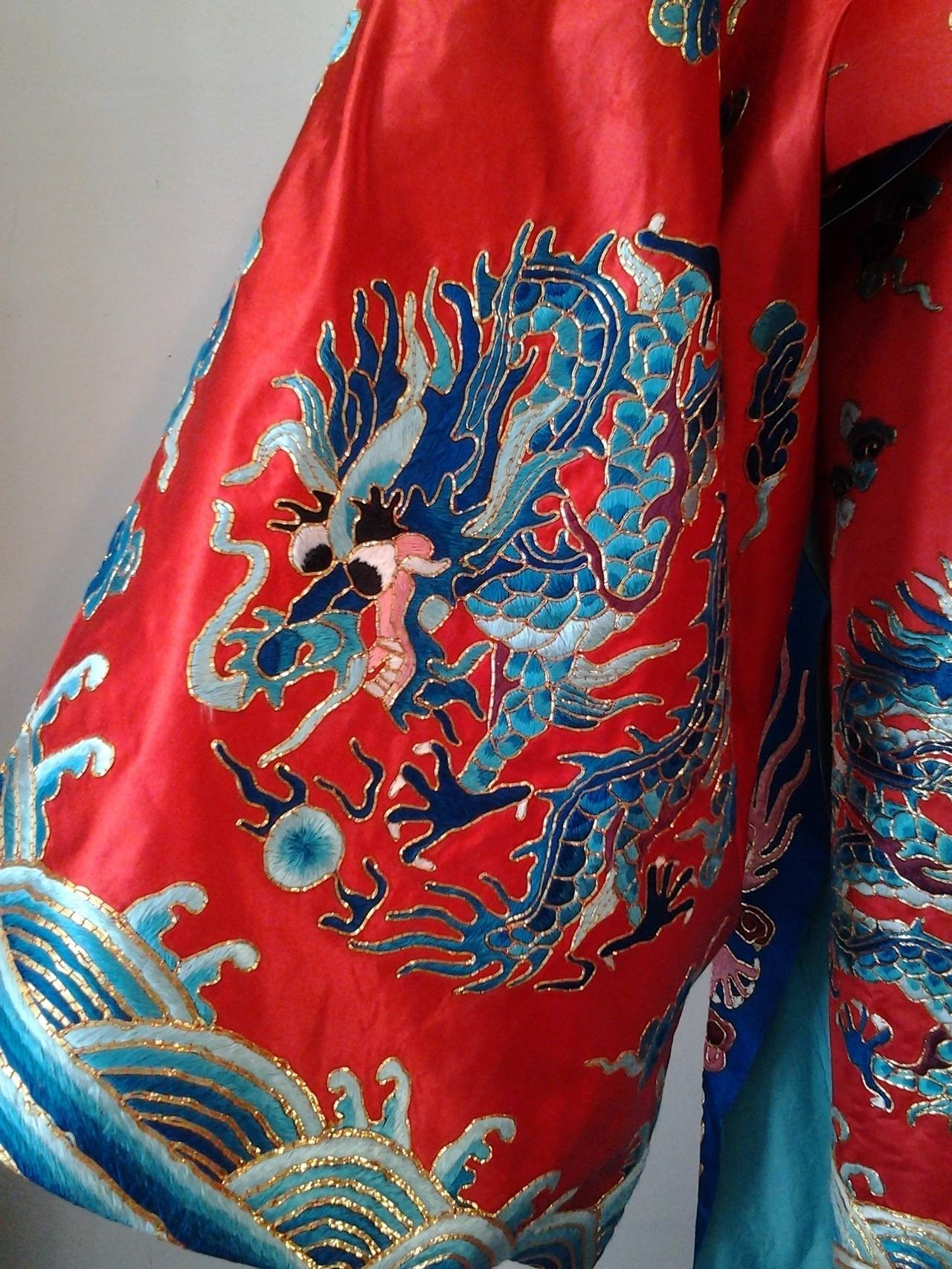 1940s Chinese Red Dragon Robe 3 Pieces 8