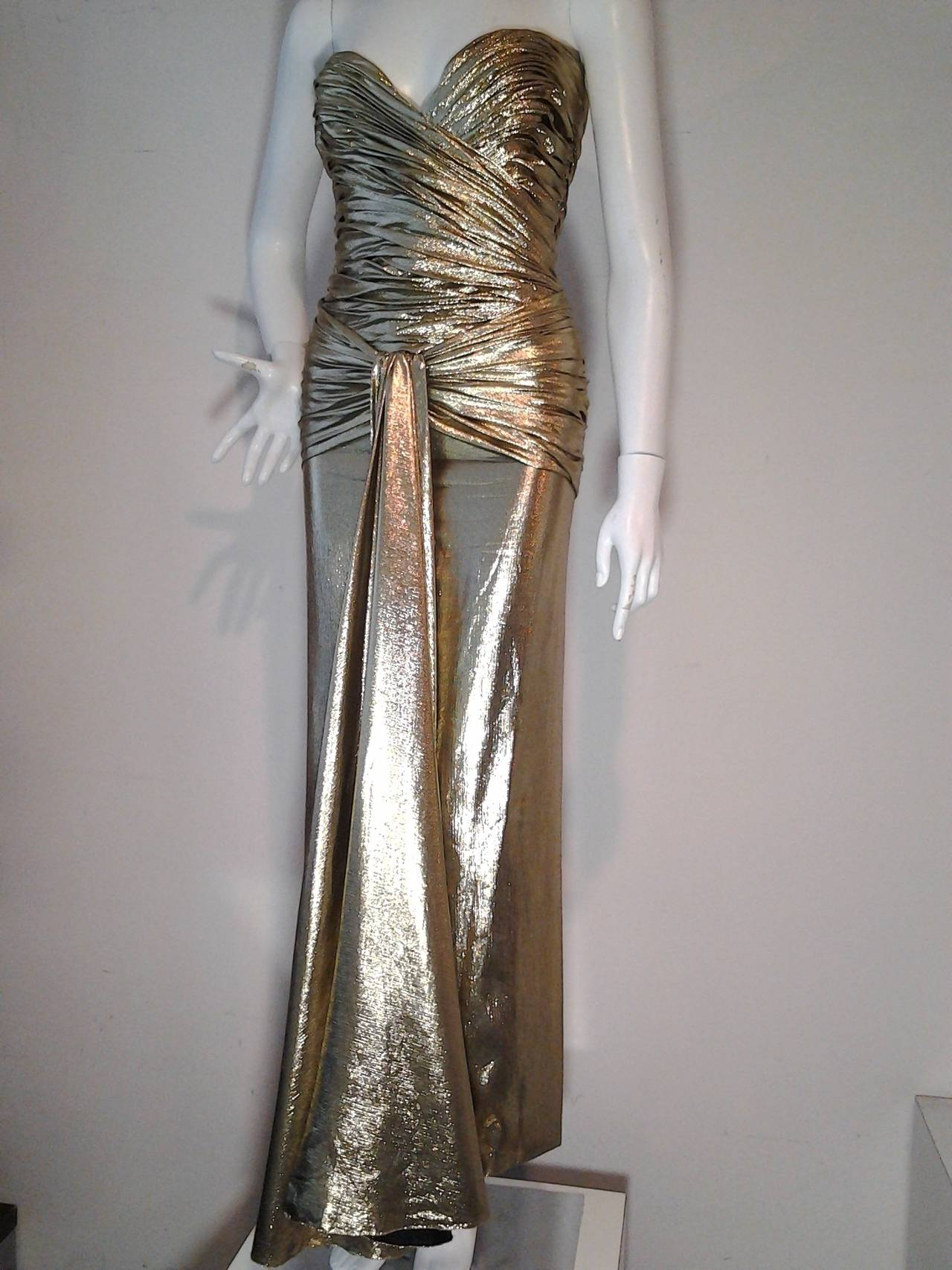 1979 Vicky Tiel Gold Lame Goddess Evening Gown In Excellent Condition In San Francisco, CA