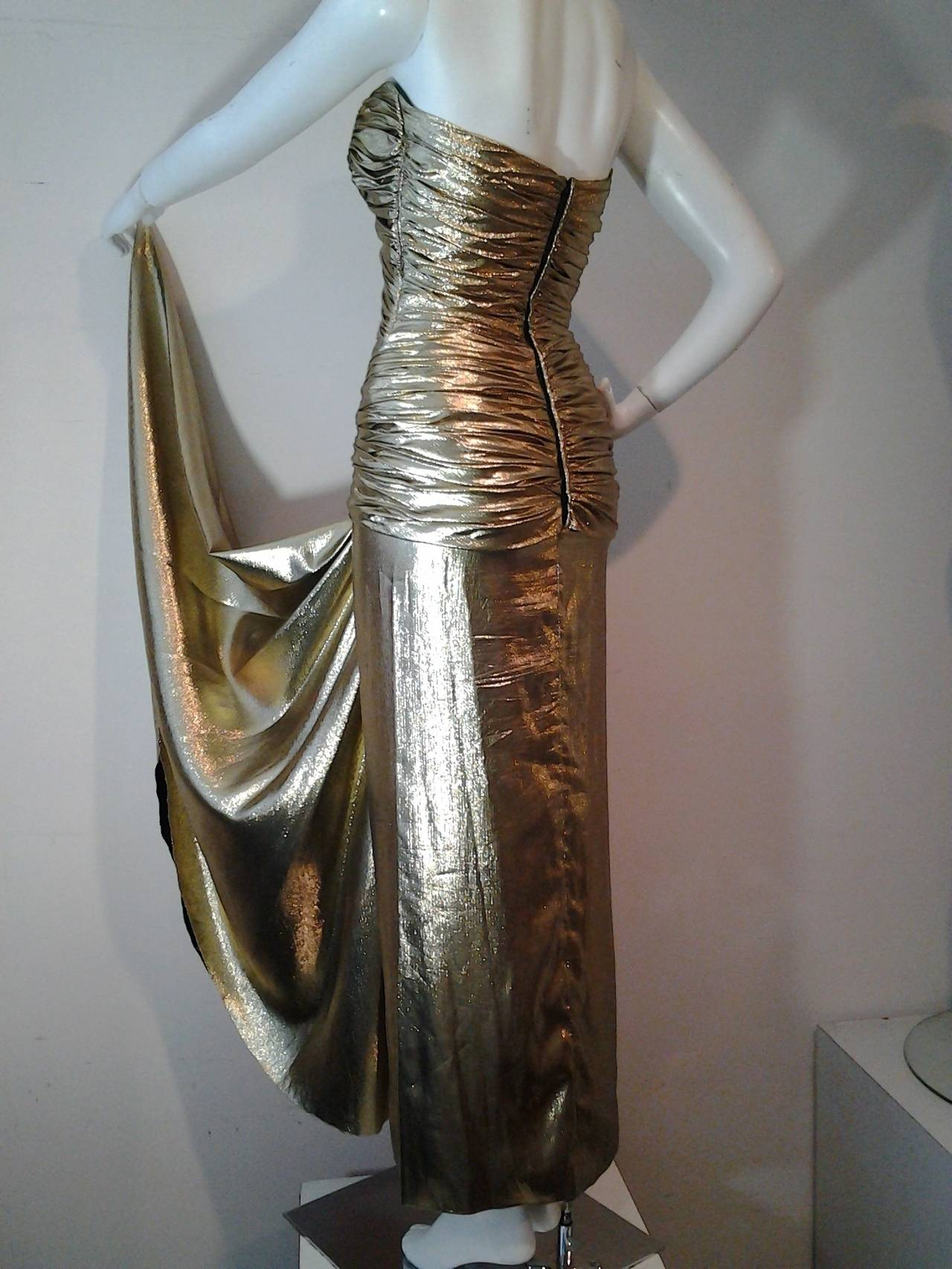 Women's 1979 Vicky Tiel Gold Lame Goddess Evening Gown
