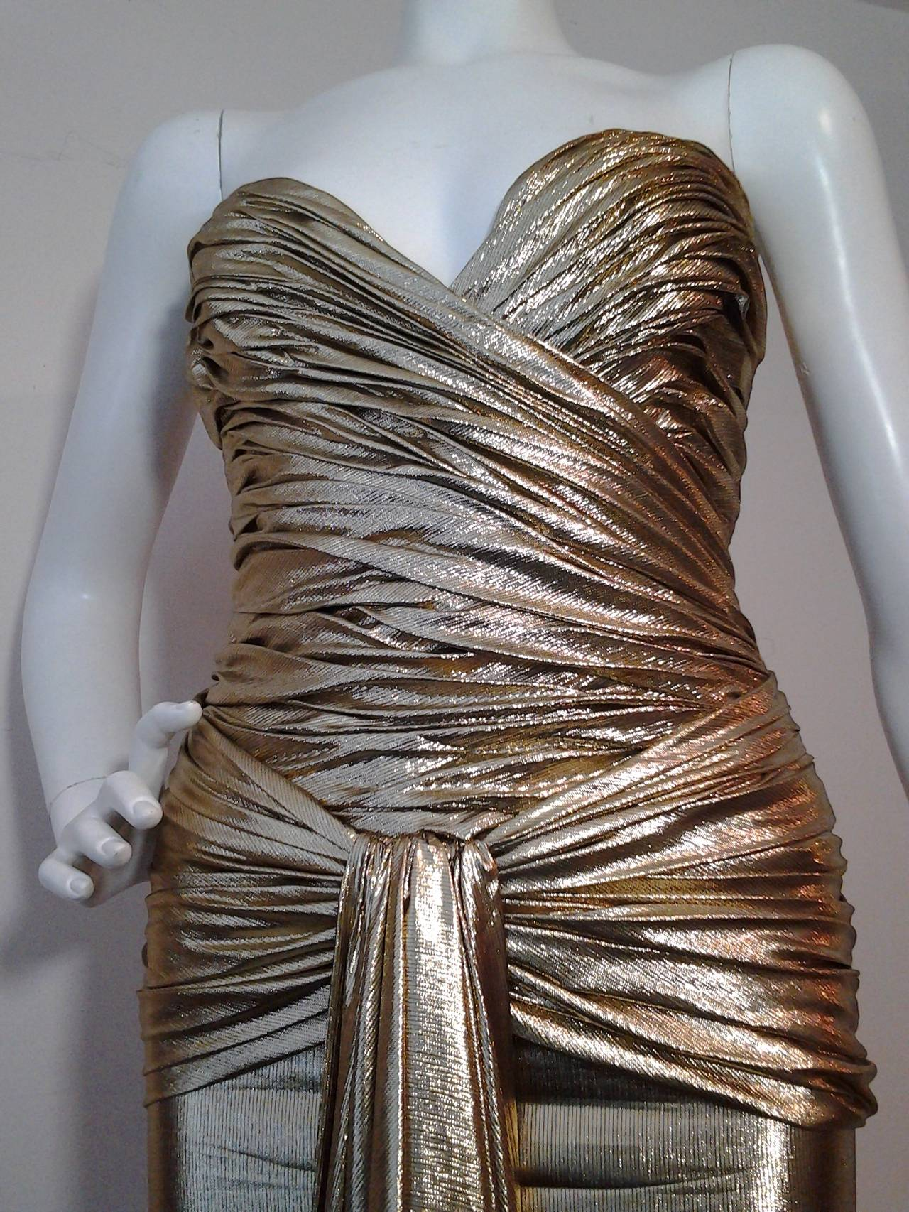 1979 Vicky Tiel Gold Lame Goddess Evening Gown 2