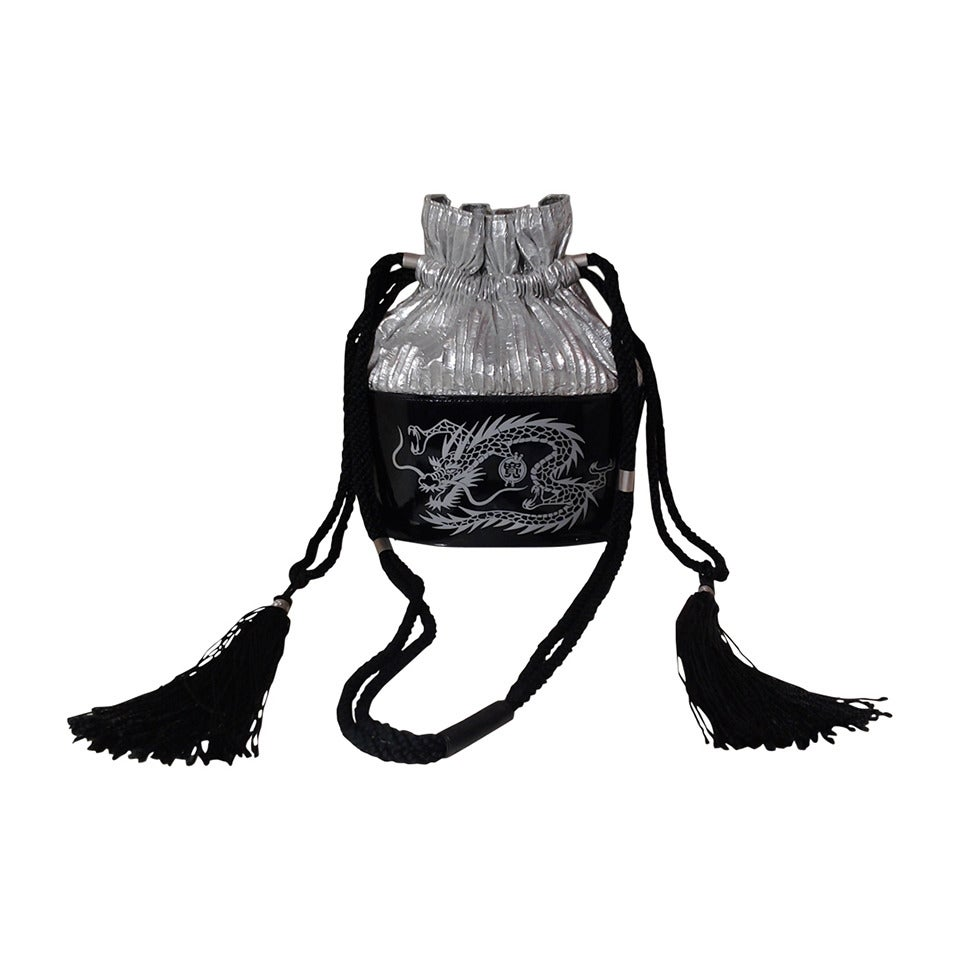 1980s Kansai Yamamoto Patent Leather and Silver Lame Dragon Draw String Bag For Sale