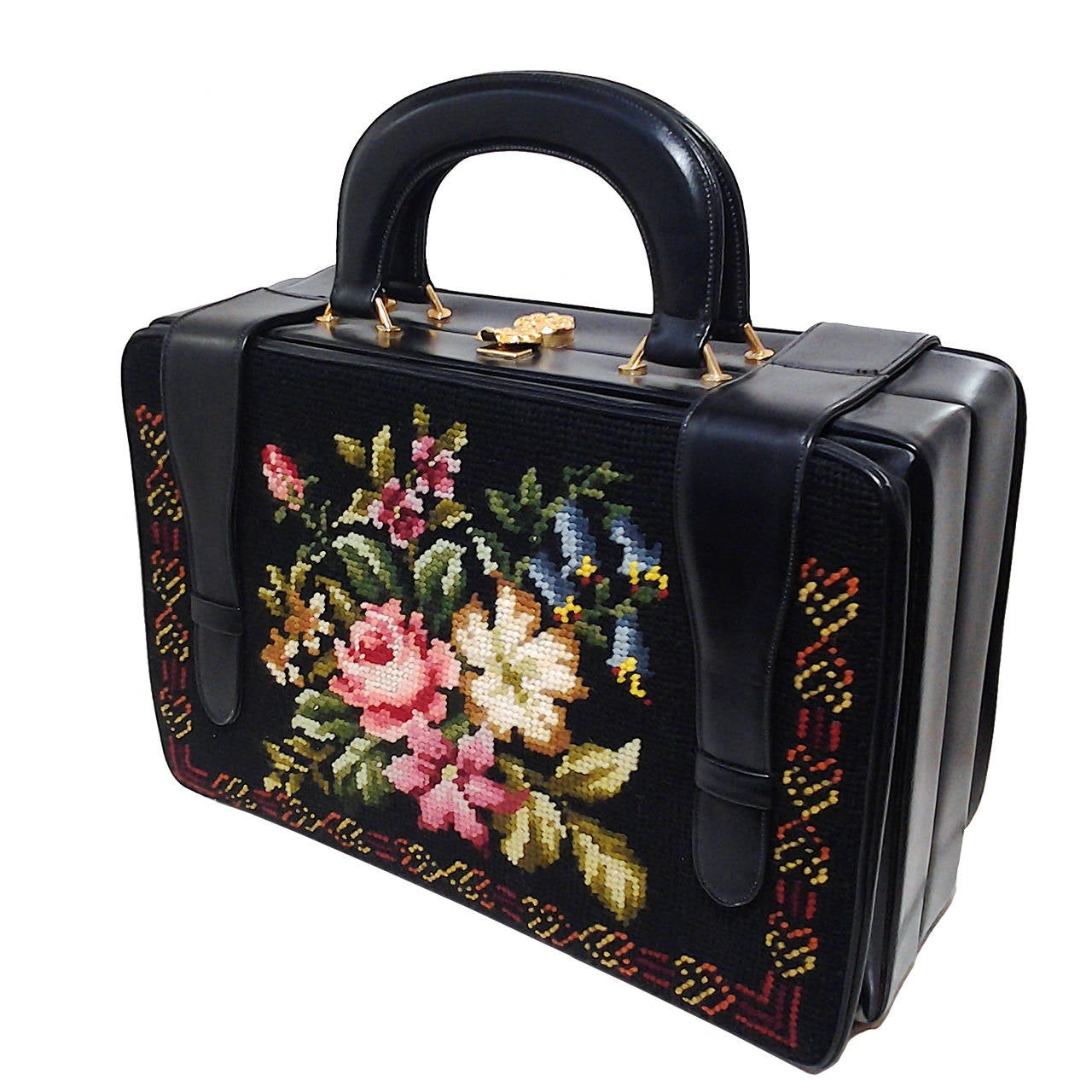 1950s Harry Rosenfeld Floral Needlepoint Structured Handbag 1