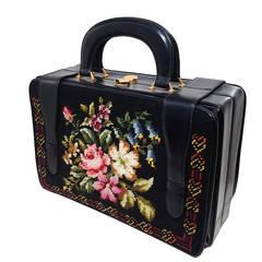 1950s Harry Rosenfeld Floral Needlepoint Structured Handbag