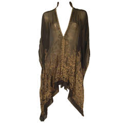 "1920s ""Fortuny"" Style Lame Woven Chiffon Jacket w/ Wired High Collar"