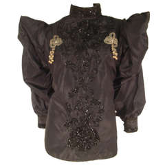 1980s Eavis and Brown Victorian Revival Beaded Silk Blouse