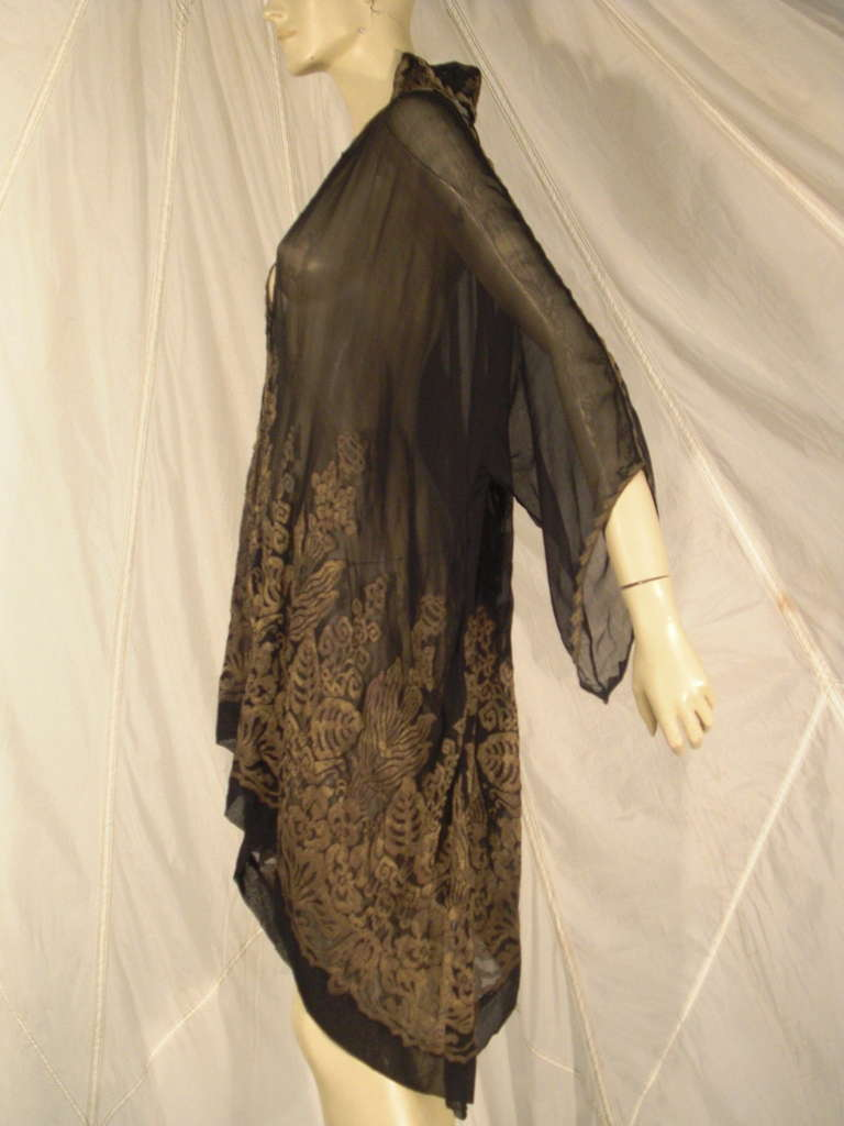 """1920s """"Fortuny"""" Style Lame Woven Chiffon Jacket w/ Wired High Collar 2"""