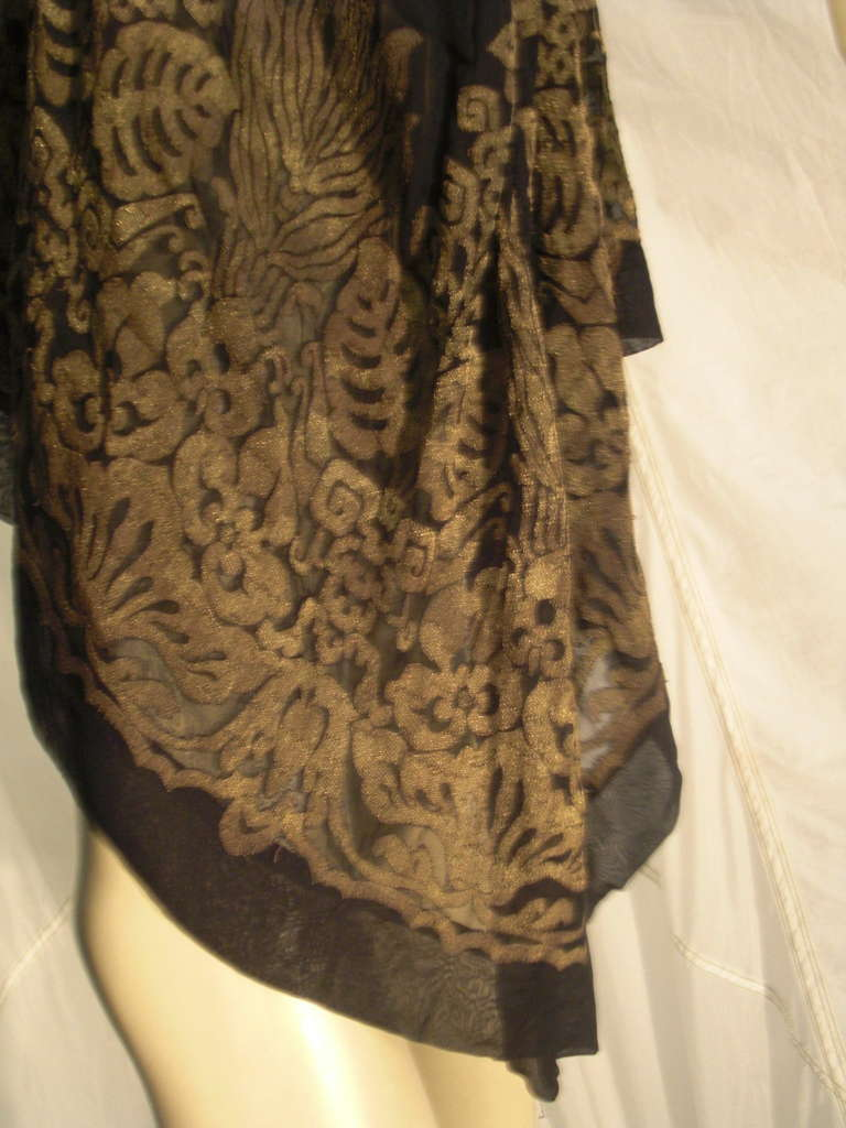 """1920s """"Fortuny"""" Style Lame Woven Chiffon Jacket w/ Wired High Collar 4"""