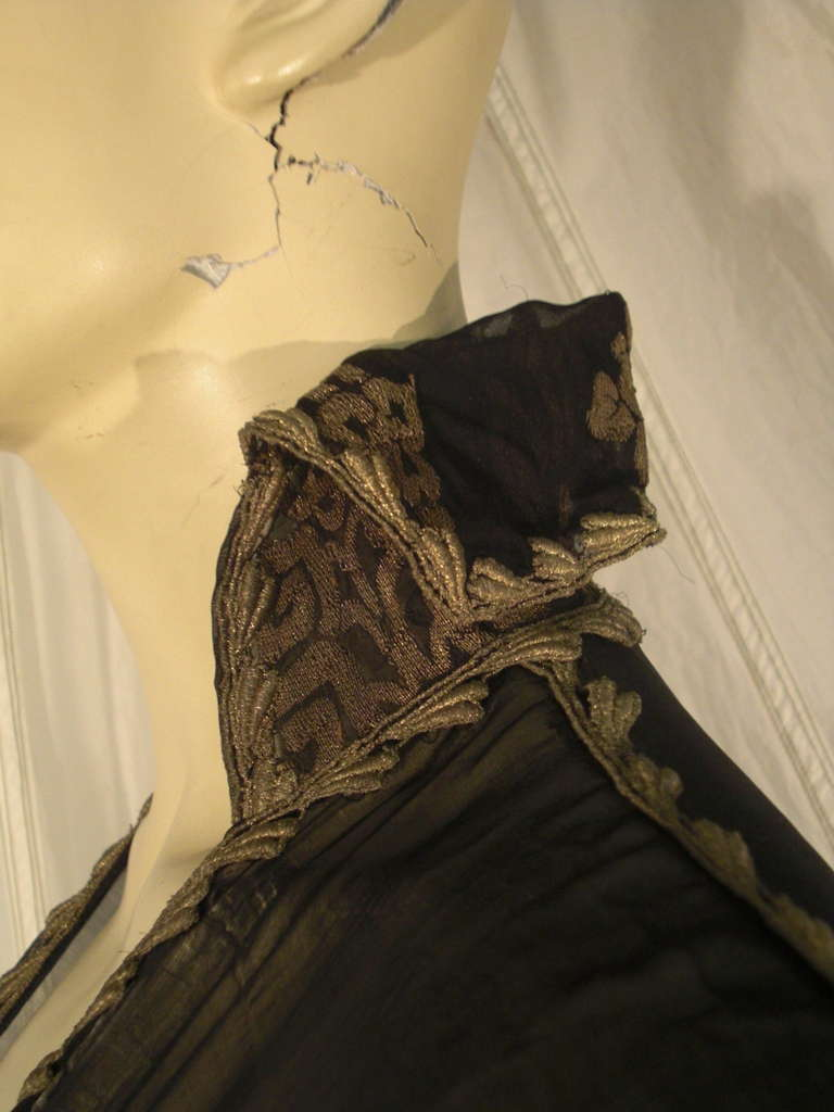 """1920s """"Fortuny"""" Style Lame Woven Chiffon Jacket w/ Wired High Collar 8"""