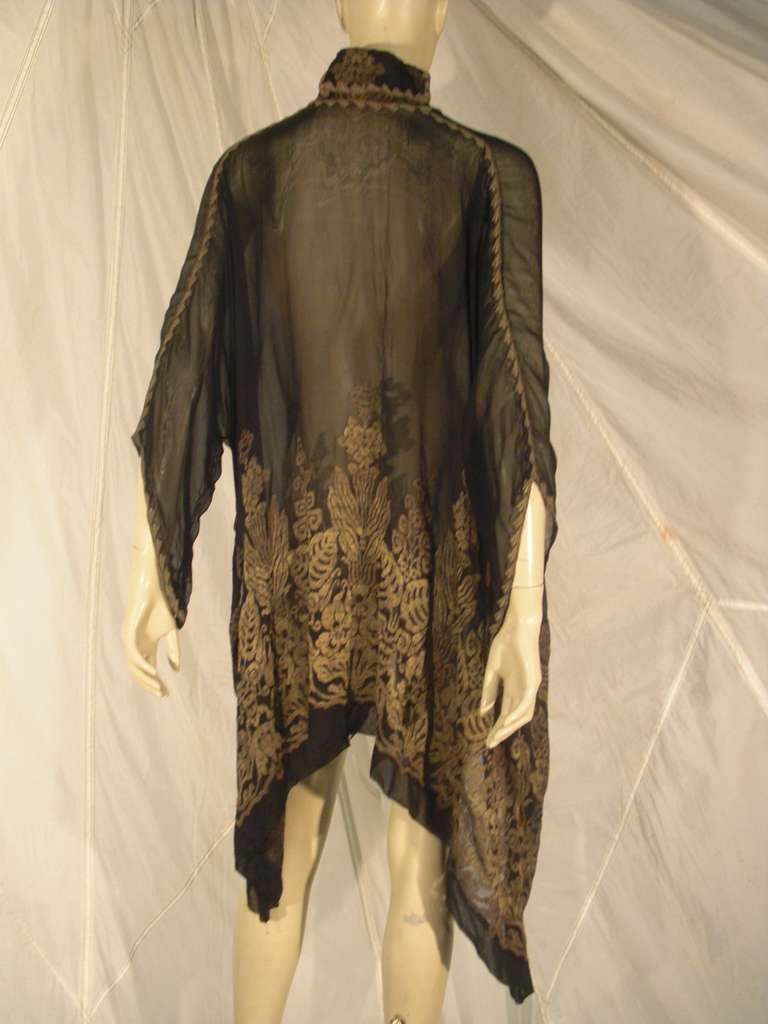 """1920s """"Fortuny"""" Style Lame Woven Chiffon Jacket w/ Wired High Collar 3"""