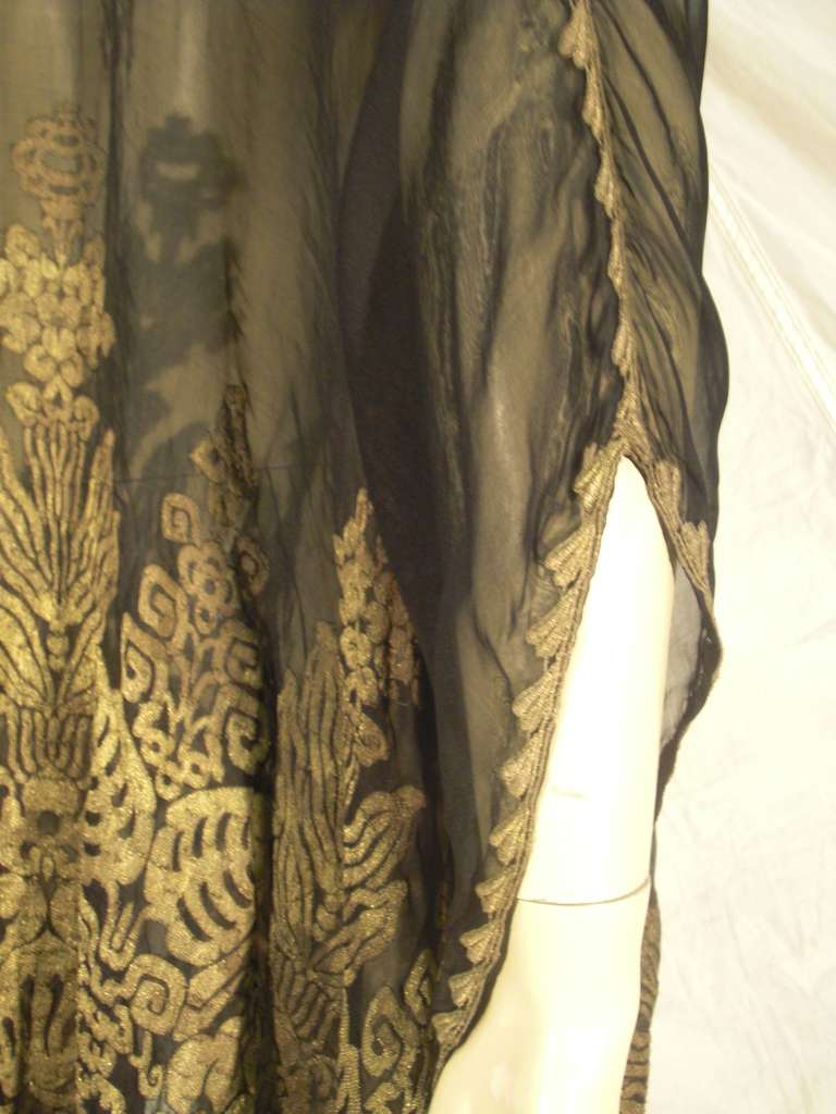 """1920s """"Fortuny"""" Style Lame Woven Chiffon Jacket w/ Wired High Collar 6"""
