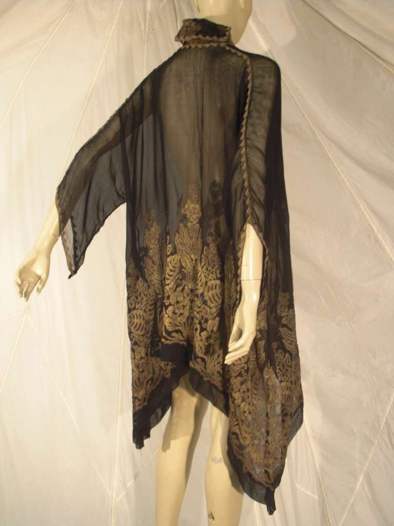 """1920s """"Fortuny"""" Style Lame Woven Chiffon Jacket w/ Wired High Collar 9"""