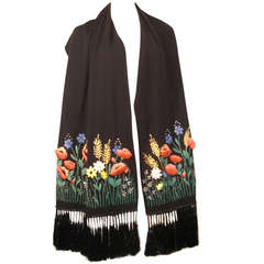 1950s Spanish Embroidered Wool Scarf with Raffia and 3D Floral Motifs