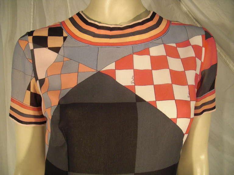 1960s Emilio Pucci Print Silk Chiffon Mini For Sale 1