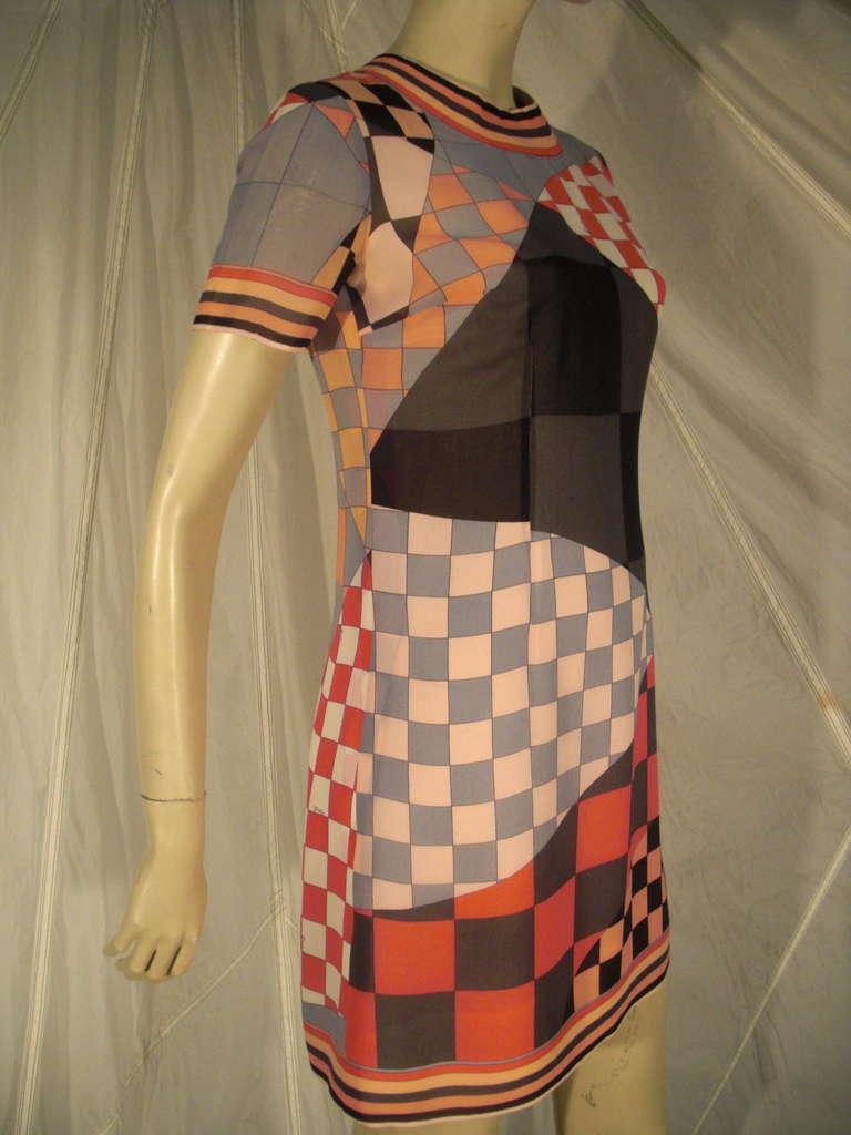 "A gorgeous 1960s unusual Emilio Pucci silk ""Checkerboard"" print chiffon mini. Chiffon lining. Back zipper."