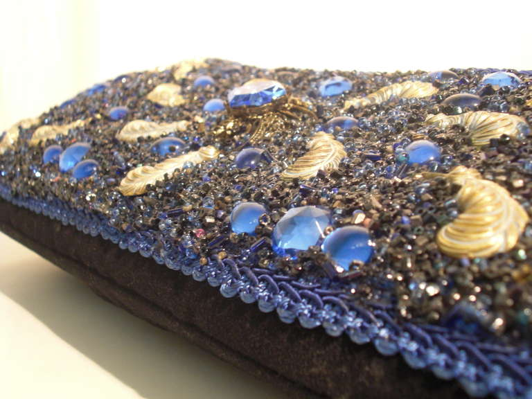 1950s Beaded And Encrusted Evening Clutch With Feather