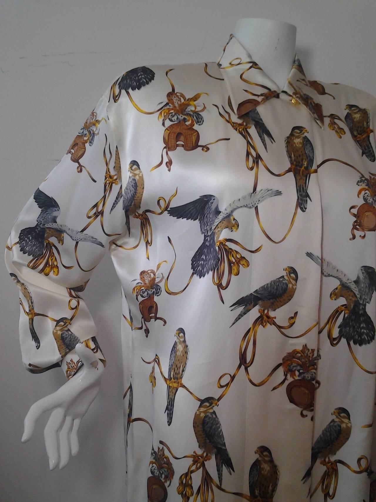d21e01488ba74 Women s or Men s 1980s Escada Silk Blouse w  Gorgeous Falcon Print For Sale