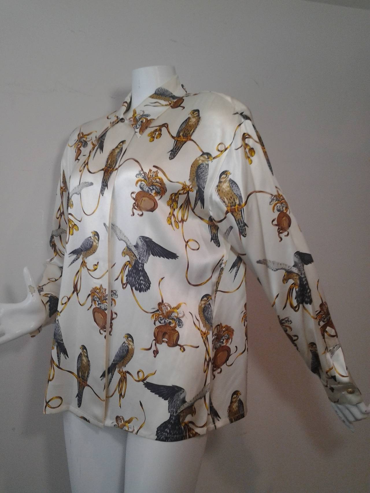 3080dd918ef5d 1980s Escada Silk Blouse w  Gorgeous Falcon Print In Excellent Condition  For Sale In San