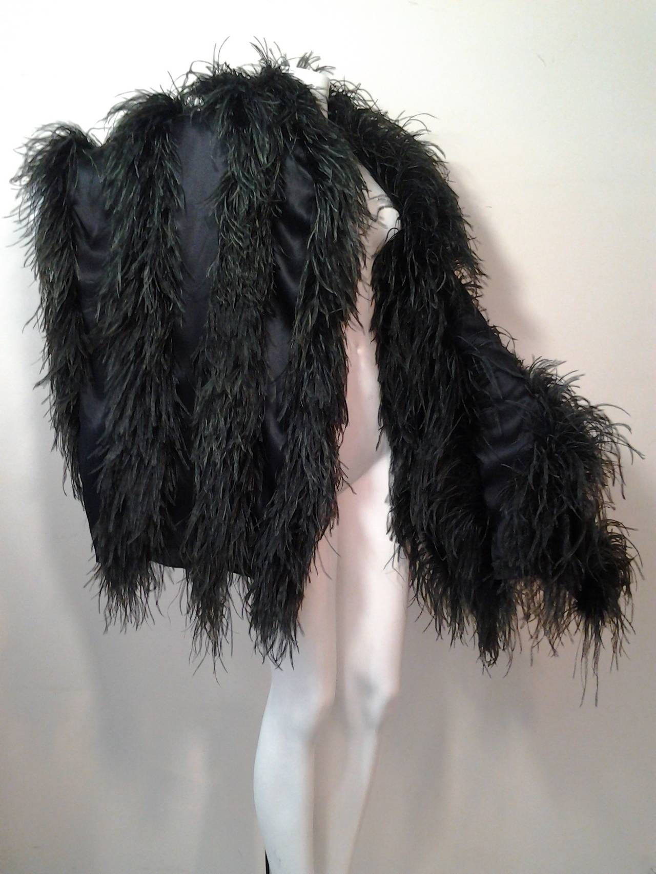 Extravagant Black Silk Charmeuse and Ostrich Feather Wrap 3