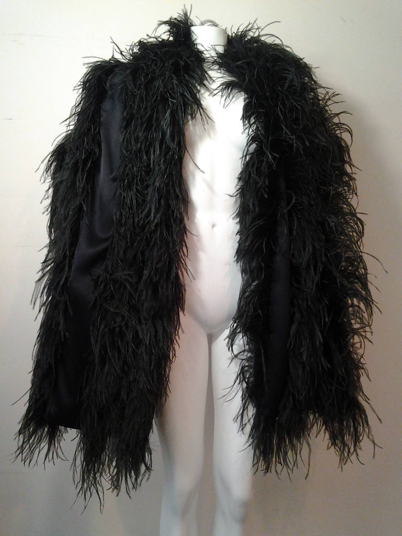Extravagant Black Silk Charmeuse and Ostrich Feather Wrap 4