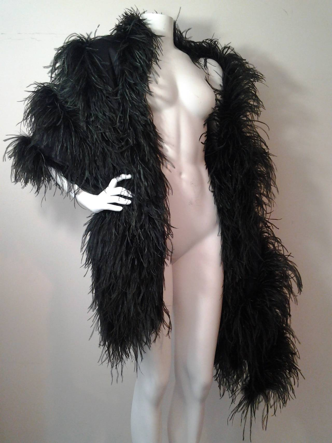 Extravagant Black Silk Charmeuse and Ostrich Feather Wrap 5