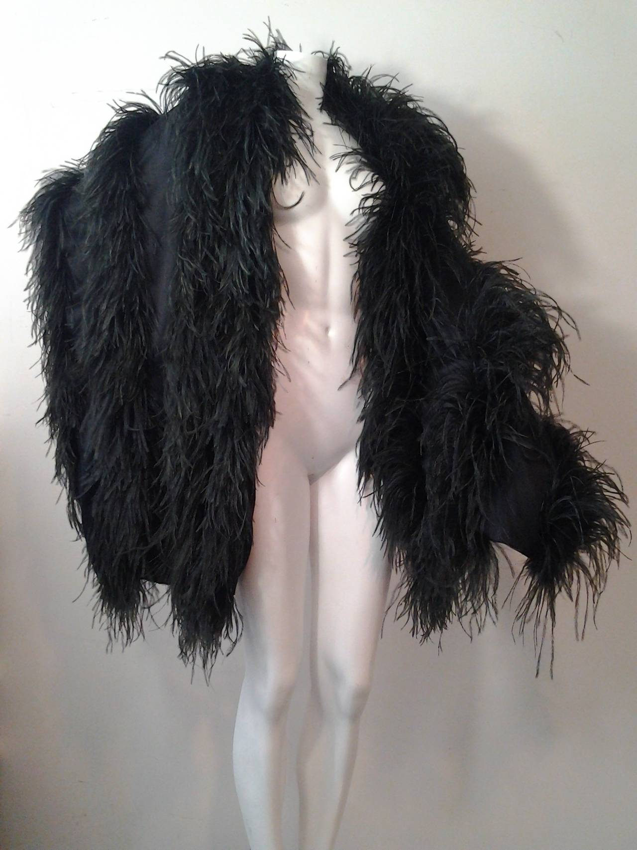 Extravagant Black Silk Charmeuse and Ostrich Feather Wrap 2